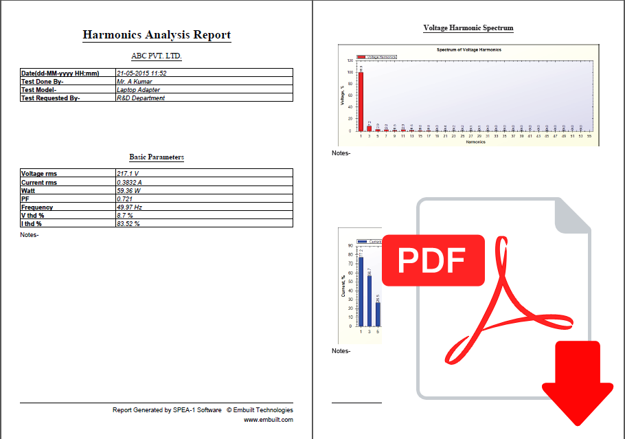 Download Harmonics Spectrum Report for tubelight