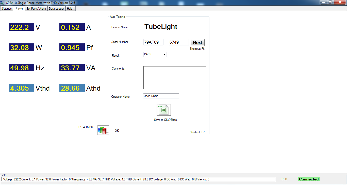 SPEA-1 Software main page for testing of tubelight