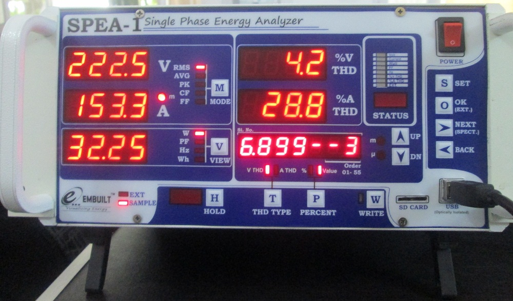 Voltage 3rd harmonics Value for tube light by SPEA-1